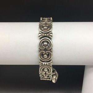 Brighton Silver Tone Chain Link Bracelet Swirl